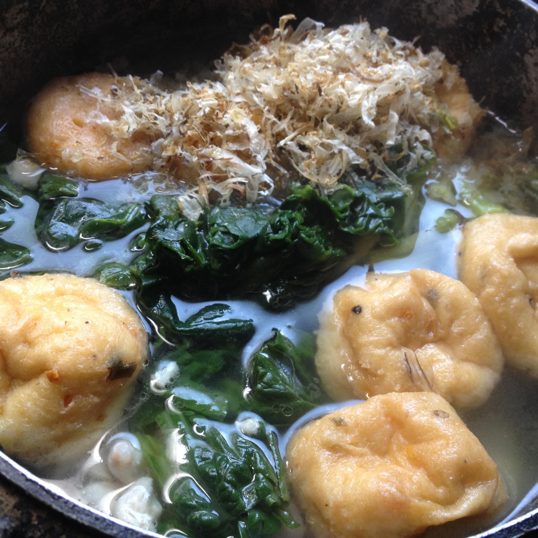 がんもどきと菠薐草の煮物