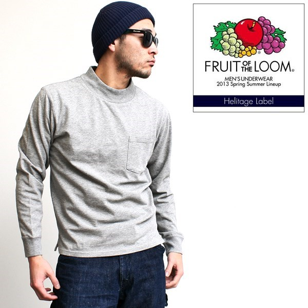 2016-02-22 USコットンモックネックポケット付き長袖Tシャツ FRUIT OF THE LOOM フルーツオブザルーム 1