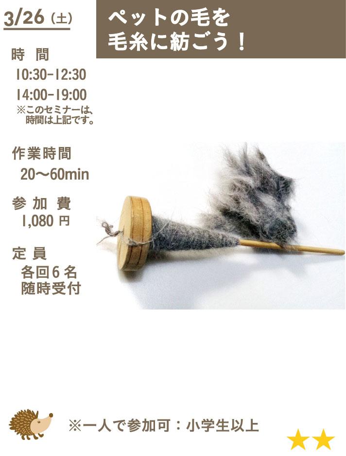 ペットの毛で毛糸を紡ごう!