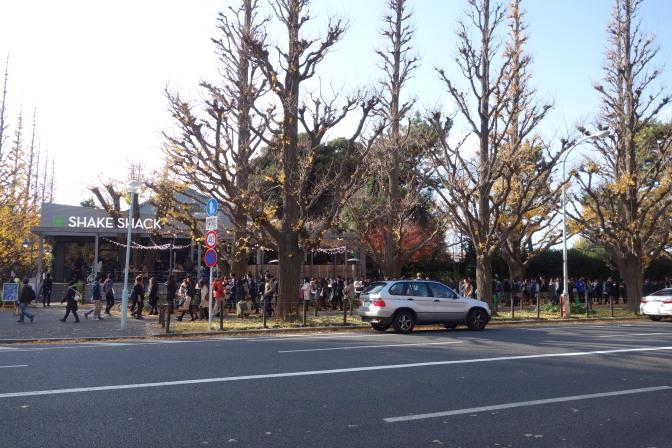 明治神宮外苑の銀杏並木はすでに終わり。「shake shack」という日本初上陸の高級バーガーショップに大行列が…
