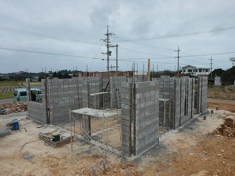 宮古島 新築 壁造 ブロック