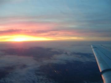 KLMオランダ航空の機窓から観た景色。