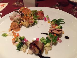フォアグラのソテーとオマール海老のオーブン焼き 海老の出汁のクスクス添え バルサミコソース
