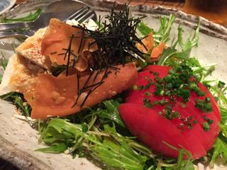 手作りすくい豆腐と有機野菜のサラダ