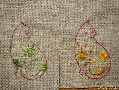 にぎ猫と花