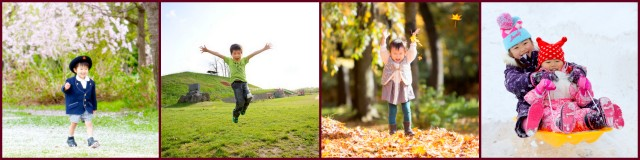 青森県 弘前市 子ども写真 記念写真 出張カメラマン ロケーション 春 桜 夏 公園 秋 紅葉 冬 雪 家族写真