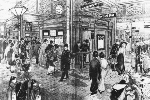新橋駅の自働電話を描いた当時の画 最初にできた公衆電話.