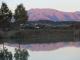 ため池に映った烏帽子岳