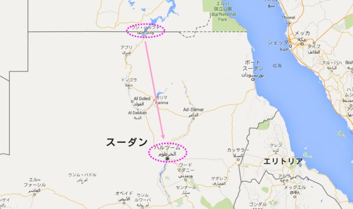 ワディハルファからスーダン