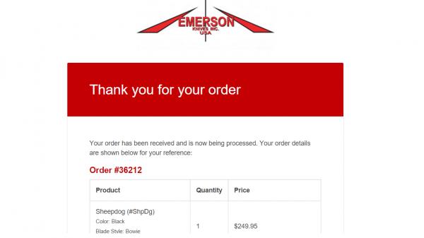 メルアドに届いたエマーソンからの受注完了画面