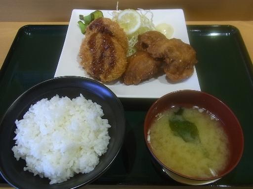 唐揚げ&コロッケ定食
