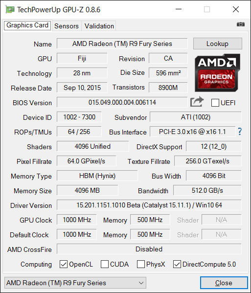 GPU-Z [Sapphire]Radeon R9 NANO