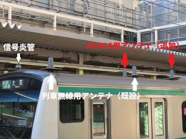 先頭車屋根のATACSアンテナ(赤の矢印が追加されたアンテナ)