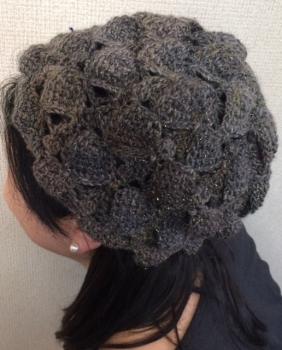 シェルアフガン帽子(着画)