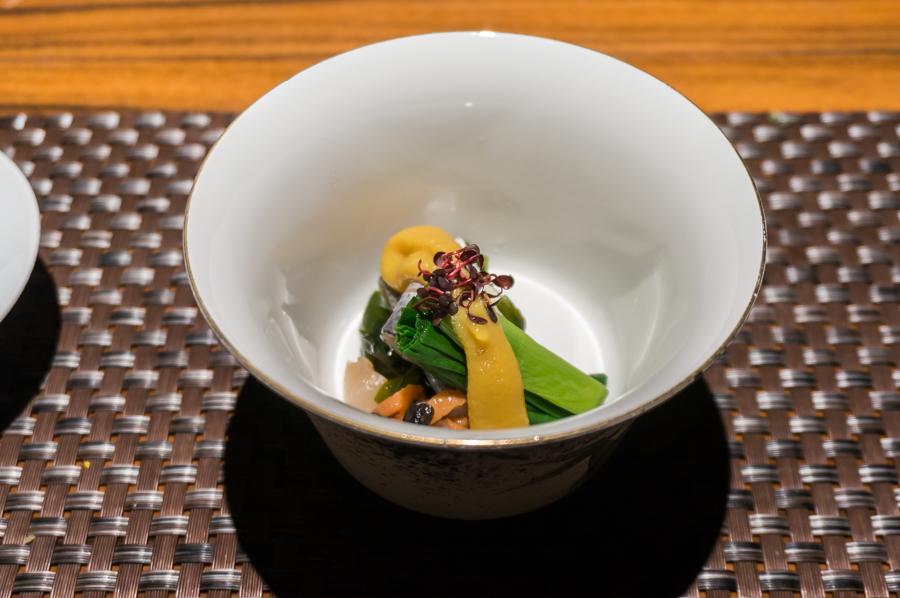 酢の物 栄螺と小肌の沼田和え 分葱、若布、紅蓼