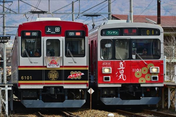 2016年2月21日 上田電鉄別所線 城下 6000系6001編成/1000系1001編成