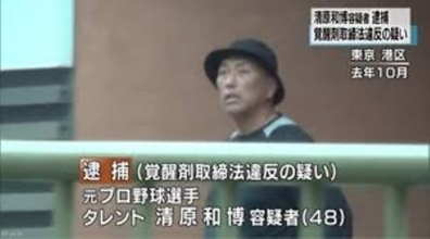 逮捕された覚醒剤取締法の疑い元プロ野球選手タレント清原和博48歳の写真