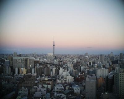 夕暮れ色の空と東京スカイツリー:R2