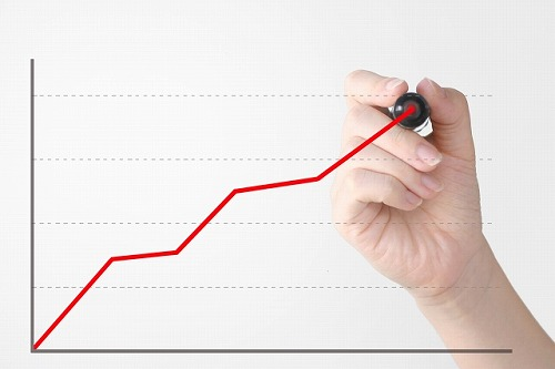 グラフを書く人 右肩上がり 上昇