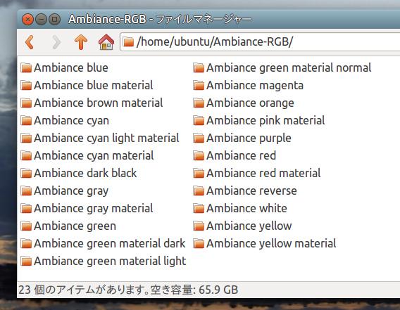 Ambiance Colourfull Ubuntu 15.10 色別のテーマフォルダ