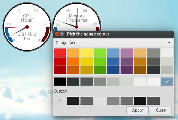 Gauge Ubuntu システムモニタ 色の変更