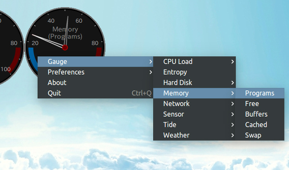 Gauge Ubuntu システムモニタ メモリの追加