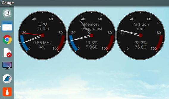 Gauge Ubuntu システムモニタ