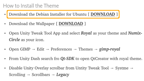 Royal Ubuntu Theme テーマ debパッケージ ダウンロード