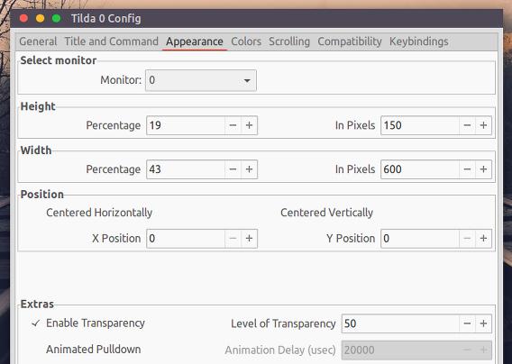 Tilda Ubuntu ドロップダウン 端末エミュレータ 設定 外観