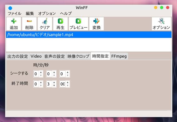 WinFF Ubuntu MP4 動画 分割 時間の指定
