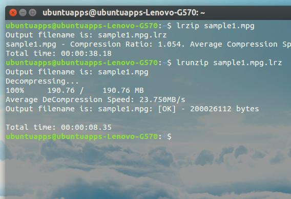 lrzip Ubuntu 圧縮 コマンド