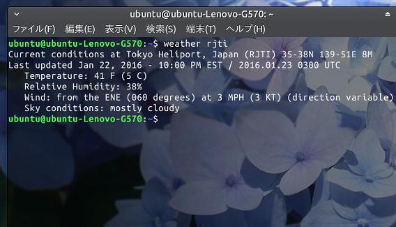 weather-util Ubuntu 天気 コマンド 現在の状態