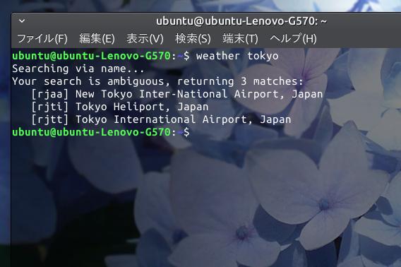 weather-util Ubuntu 天気 コマンド 都市の検索