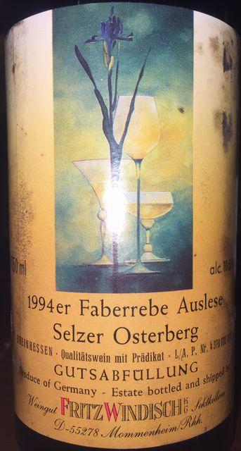 Selzer Osterberg Gutsabfullung Faberrebe Auslese Fritz Windisch 1994