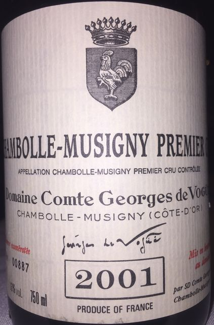 Chambolle Musigny 1er Cru Domaine Comte Georges de Vogues 2001