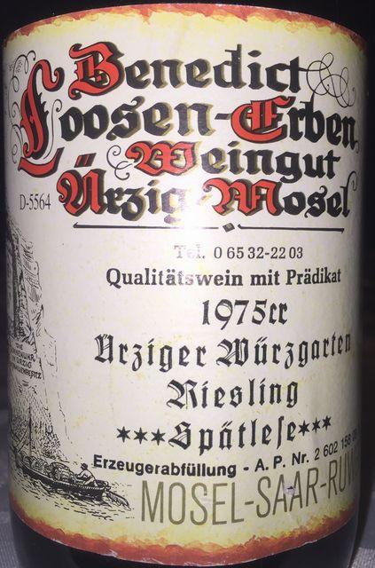 Urziger Wurzgarten Riesling Supatelese Benedict Loosen Erben Weingut MSR 1975