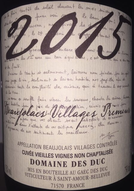 Beaujolais Villages Primeur Domaine Des Duc 2015