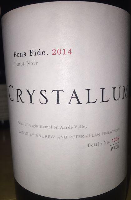 Crystallum Pinot Noir Bona Fide 2014