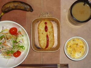 ハッシュドポテト,サラダ(キャベツ、大根、水菜、トマト)大豆肉入り卵のココット,バナナ,コーヒー