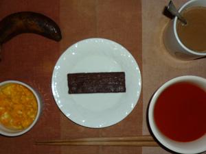チョコブラウニー,野菜スープ,スクランブルエッグ,バナナ,コーヒー