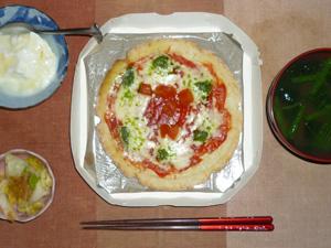 ピッツァマルゲリータ,白菜の漬物,ほうれん草のおみそ汁,オリゴ糖入りヨーグルト