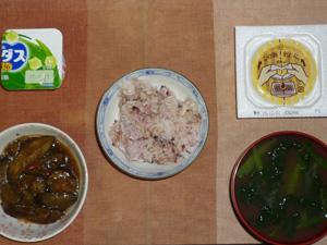 胚芽押麦入り五穀米,納豆,茄子のみぞれ煮,ほうれん草とワカメのおみそ汁,アロエヨーグルト
