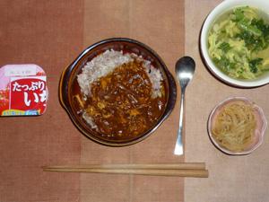 カレーライス,もやしのワサビ醤油和え,玉ねぎとほうれん草の中華スープ,ヨーグルト