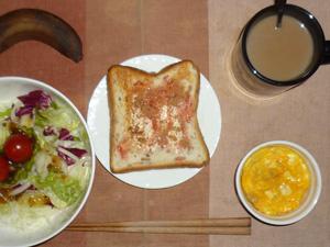 イチゴジャムトースト,サラダ(キャベツ、レタス、玉ねぎ、トマト),ひき肉入りスクランブルエッグ,バナナ,コーヒー