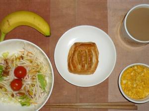 アップルパイ,サラダ(キャベツ、大根、水菜、トマト),鶏ひき肉入りスクランブルエッグ,バナナ,コーヒー