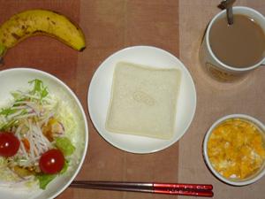 ランチパックピーナッツ,サラダ(キャベツ、大根、水菜、トマト),鶏ひき肉入りスクランブルエッグ,バナナ(S),コーヒー
