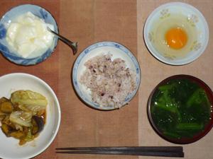 胚芽押し麦入り五穀米,卵,キャベツとナスの肉みそ炒め,ほうれん草と玉葱のお味噌汁,オリゴ糖入りヨーグルト