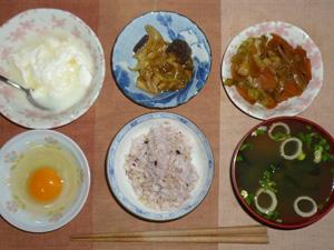 胚芽押し麦入り五穀米,卵,ナスと玉葱の肉みそ炒め,キャベツと人参の野菜炒め,ほうれん草とワカメのお味噌汁,オリゴ糖入りヨーグルト