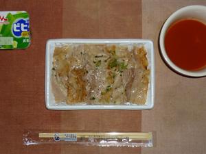 ねぎ塩豚カルビ弁当(麦飯),野菜スープ,ヨーグルト