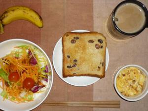 レーズントースト,サラダ(キャベツ、レタス、人参、トマト),玉葱入りスクランブルエッグ,バナナ,コーヒー